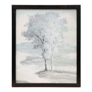 1980s Tree in Landscape Framed Painting For Sale