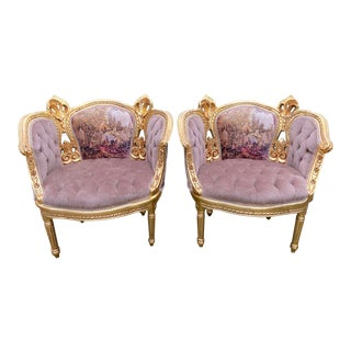 Antique 1900's French Louis XVI Style Corbeille Tan Chairs - a Pair For Sale
