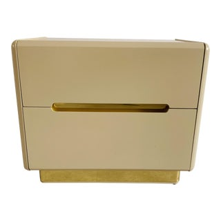Vintage Lane Lacquer & Brass Nightstand For Sale
