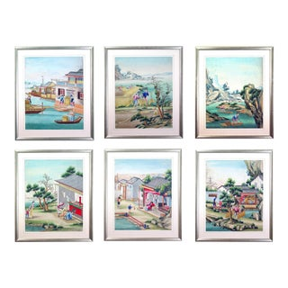 Chinese Watercolor & Gouache Paintings of Chinese Life - Set of 6 For Sale