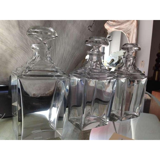 Art Deco Set of 3 Art Deco Thick Crystal Decanters For Sale - Image 3 of 8
