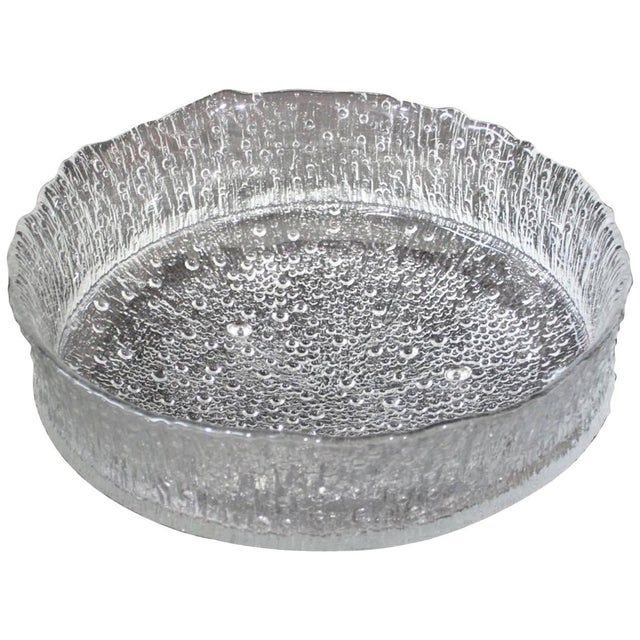 Mid-Century Modern Rare Tapio Wirkkala Large Cast Glass Ice Dish Model 3442 For Sale - Image 9 of 9