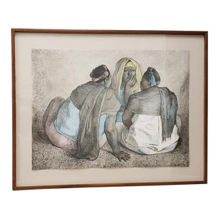 "Francisco Zuniga (1912-1998) ""Grupo De Mujeres Sentadas Iii"" Artist Proof Lithograph C.1981 For Sale"