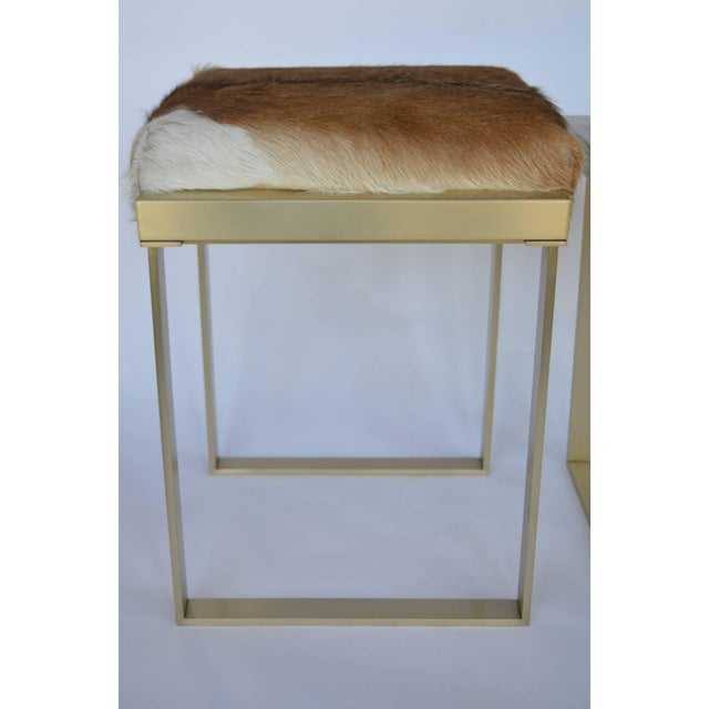 1980s Vintage Brushed Brass Stools- a Pair For Sale - Image 4 of 7