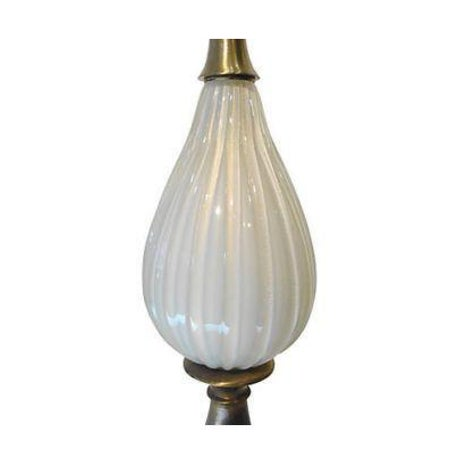 Mid-Century Modern Superb 1950s White Murano Glass Lamp For Sale - Image 3 of 3