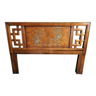 Vintage Henry Link Chippendale Asian Chinoiserie Hand Painted Double/Queen Headboard For Sale
