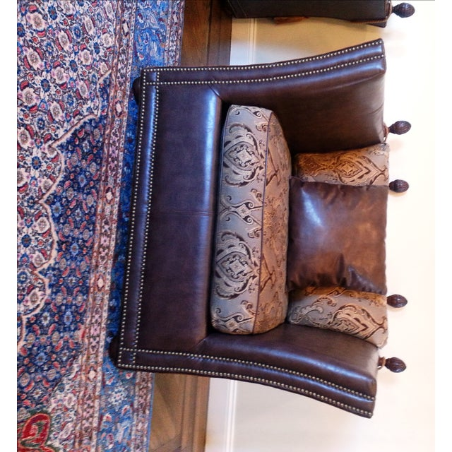 Safavieh Leather Nailhead Accent Chairs - Pair - Image 3 of 8