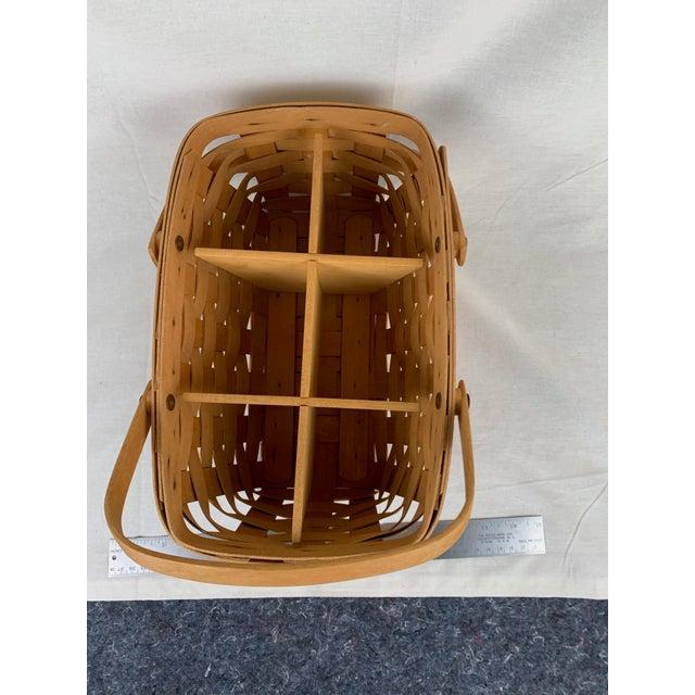 Arts & Crafts Vintage Woven Longaberger Basket With Wood Divider For Sale - Image 3 of 6