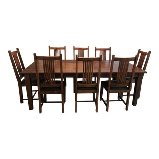 Wood Dining Table With 8 Black Leather Chairs