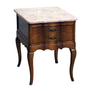 French Provincial Night Stand With Rose Marble Top For Sale