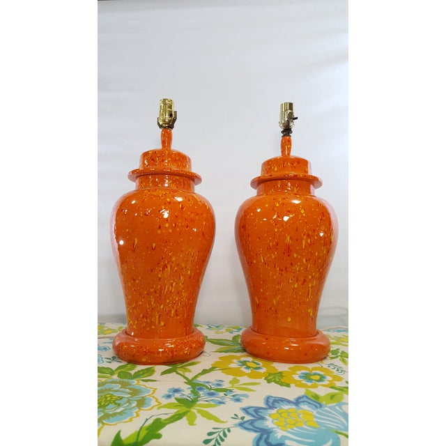 Vintage 1970s Mid-Century Orange Drip Glaze Ginger Jar Lamps - a Pair - Image 2 of 11