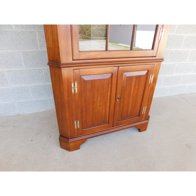 Metal Henkel Harris Chippendale Style Cherry Corner Cabinet For Sale - Image 7 of 13