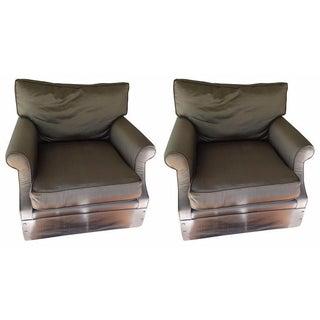 Kreiss Taupe Silk Club Chairs - A Pair For Sale