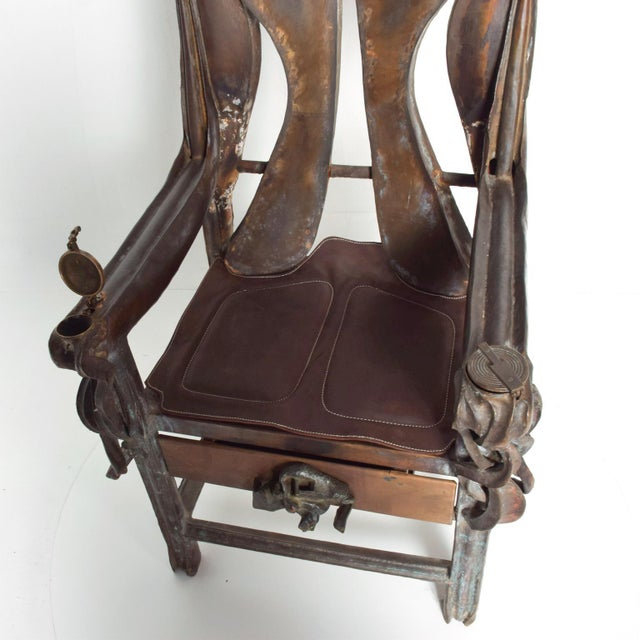 For your consideration, a beautiful and one of a kind armchair. The chair is proudly signed in the interior right arm...