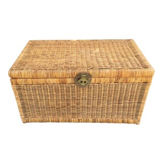 1970s Boho Chic Rattan Woven Storage Trunk With Brass Hardware For Sale