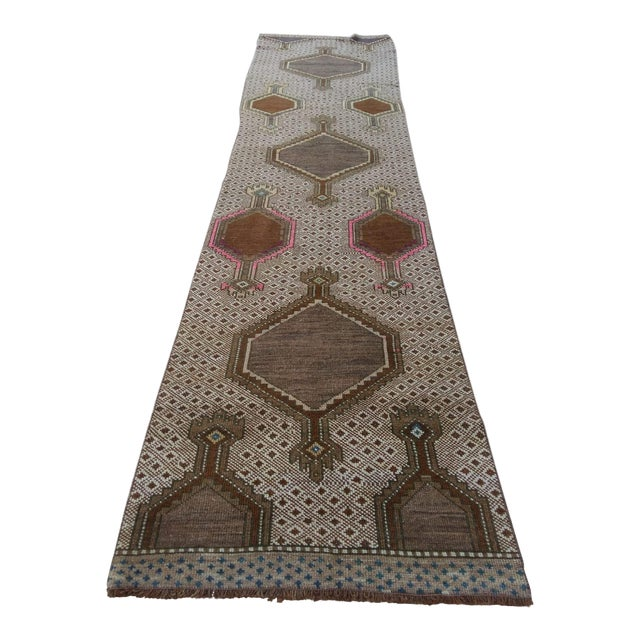 Antique Pink & Brown Caucasian Long Runner - 2′9″ × 12′1″ For Sale