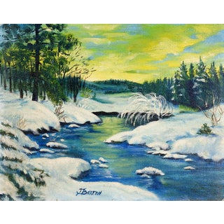 Snowy Forest Landscape Painting For Sale