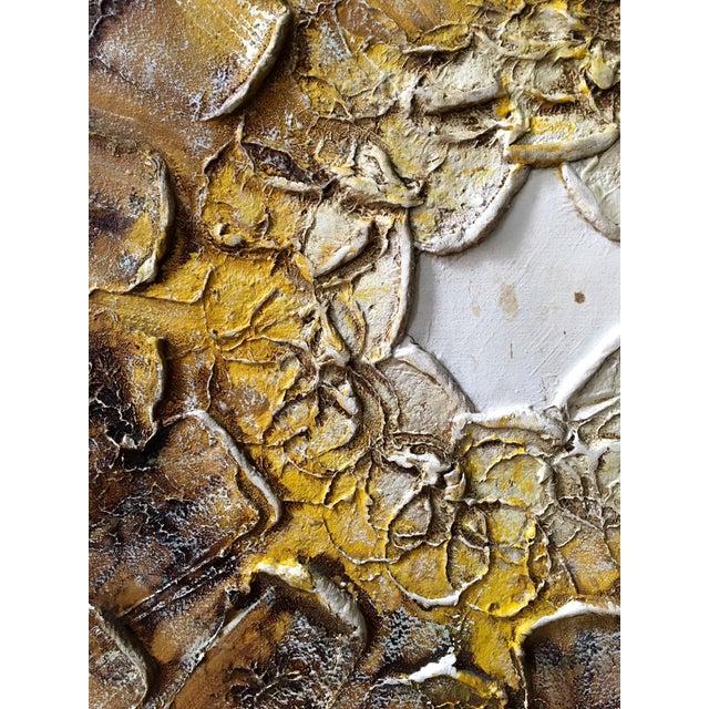 Abstract 1960s Brutalist Sunburst Painting Signed Walker For Sale - Image 3 of 7