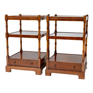 Pair of Burl Wood Three Shelves End or Side Tables For Sale