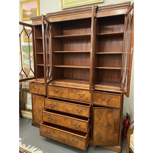 Vintage Mahogany Breakfront With Butlers Desk For Sale - Image 4 of 12