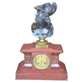 Neoclassical Bronze and Rouge Marble Mantel Clock For Sale