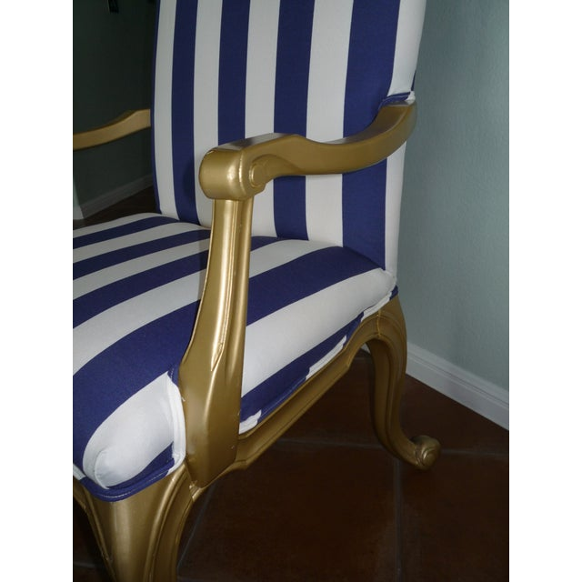 Regal Gold & Blue Striped Chair - Image 4 of 10