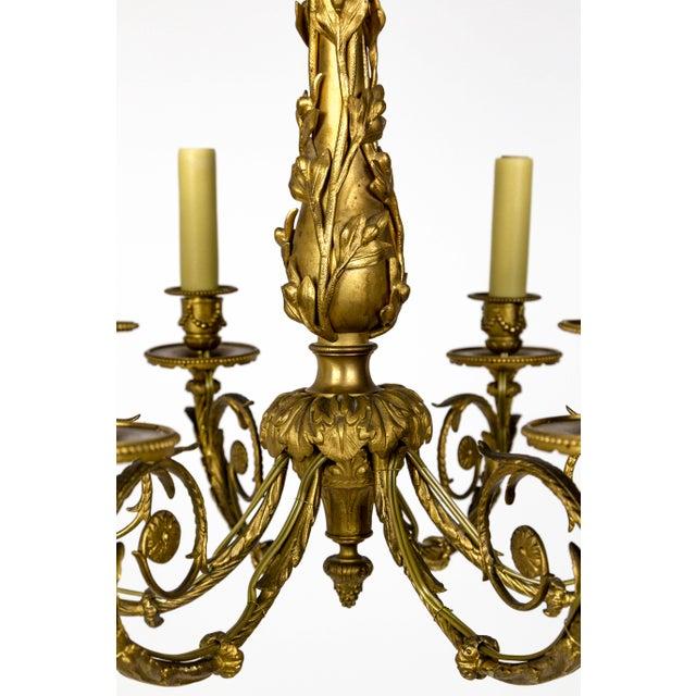 Art Nouveau Gilt Bronze Chandelier With Ladybugs & Flora Scrolls For Sale - Image 9 of 12