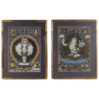 Mid-Century Original Hand-Painted Tibetan Watercolors, Circa 1950s - A Pair For Sale