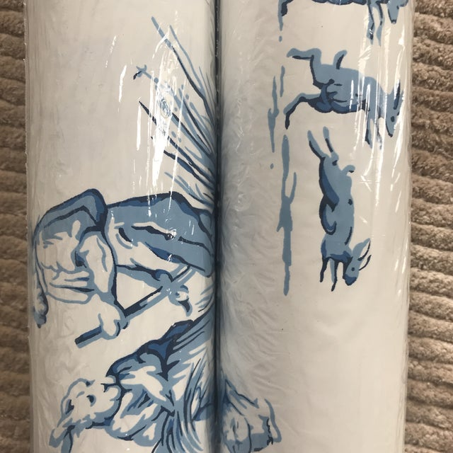 "Brunschwig & Fils Wallpaper ""Bunny Business"" Roles - Two Triple Rolls For Sale - Image 4 of 8"