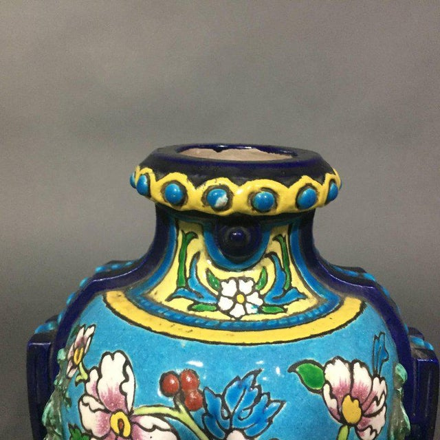 Turquoise Pair of Emaux de Longwy Attributed Floral Enameled Vases, France For Sale - Image 8 of 10