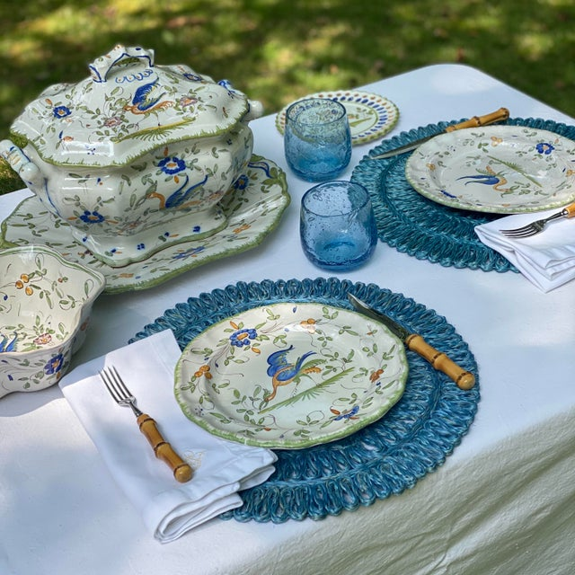Traditional Aqua Woven Round Placemats/Chargers, S/8 For Sale - Image 3 of 4