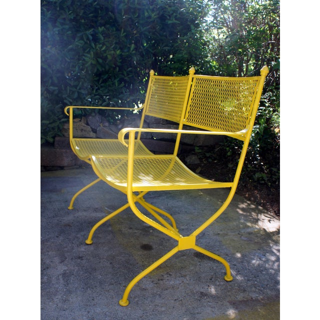 Mid 20th Century Vintage Mid Century Buttercup Yellow French Directoire Style Wrought Iron Patio Set- 5 Pieces For Sale - Image 5 of 13