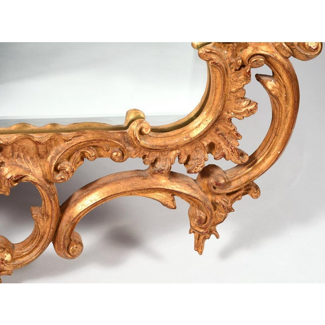 Giltwood Early 20th Century Carved Wood Chippendale Style Beveled Hanging Wall Mirror For Sale - Image 7 of 8
