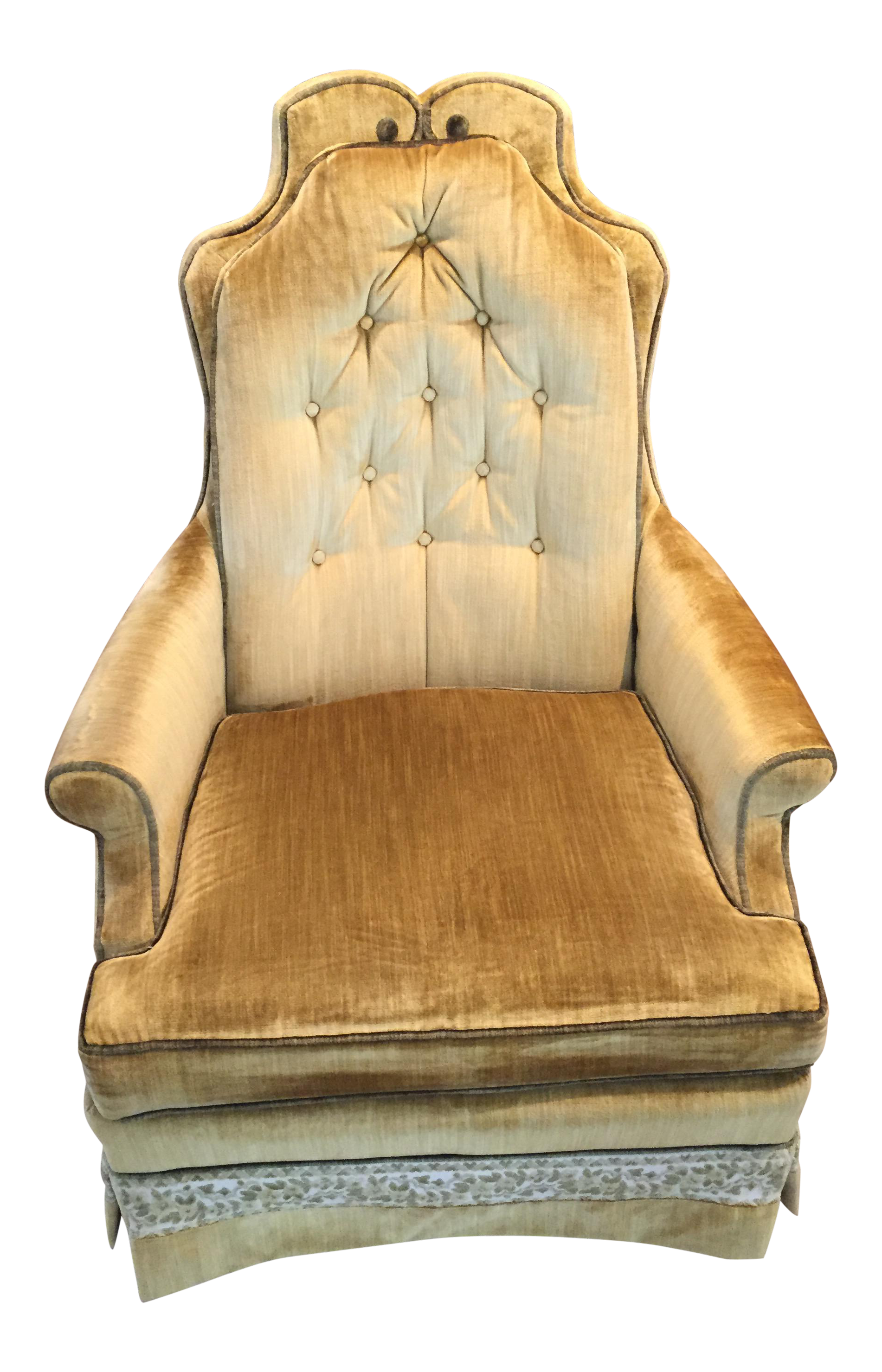 Hollywood Regency Muted Gold U0026 Green Crushed Velvet Chair By Silver Craft    Image 1 Of