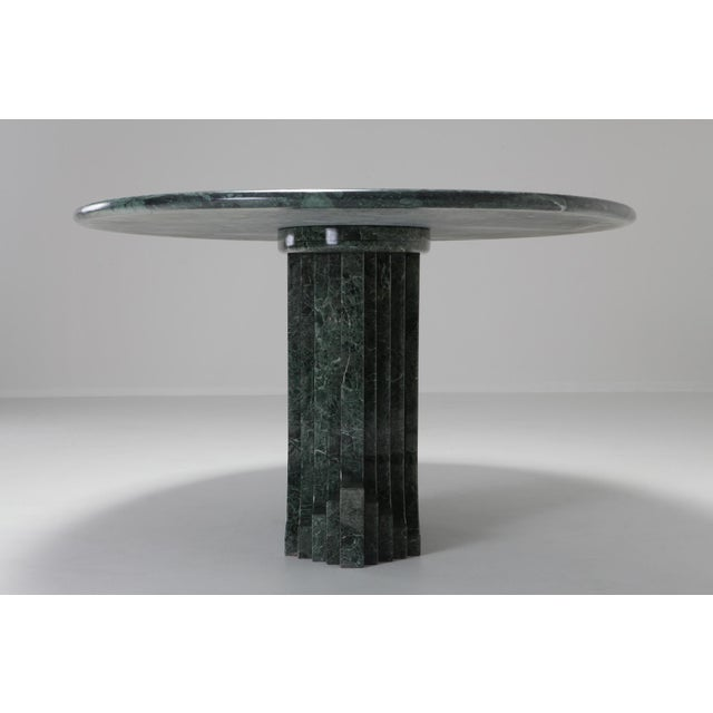 Hollywood Regency Carlo Scarpa Dining Table 'Samo' in a Rare Green Marble For Sale - Image 3 of 11