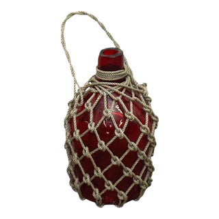 Red Glass Roped Bottle