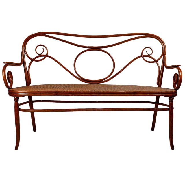 Gebruder Thonet Viennese Secessionist Bentwood Settee Designed by August Thonet For Sale