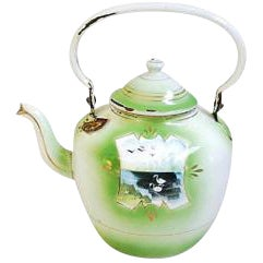 Green Early 1900s Hand-Painted French Country Tea Kettle Pot For Sale - Image 8 of 9