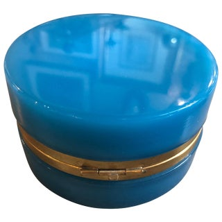 Antique French Blue Round Opaline Glass Box For Sale