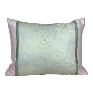 Floral Garden Japanese Silk Obi Pillow Cover For Sale