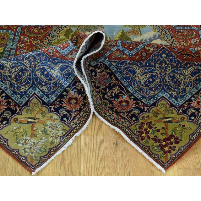 Textile Antique Persian Tabriz Pictorial Rug- 4′7″ × 5′4″ For Sale - Image 7 of 13