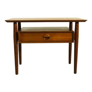 Vintage Danish Teak Single Drawer Side Table For Sale