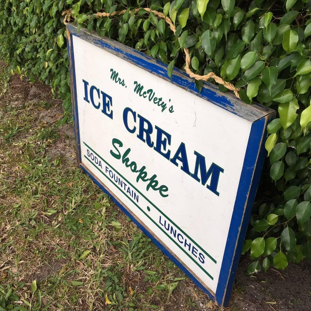 Antique Hand Painted Ice Cream Shoppe Sign - Image 3 of 9