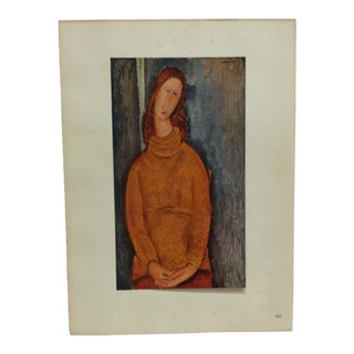 "1947 Vintage ""Madame Hebuterne"" Modigliani French Mounted Color Print For Sale"