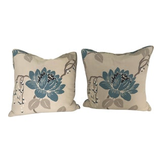 Floral Lotus Linen Pillows - A Pair