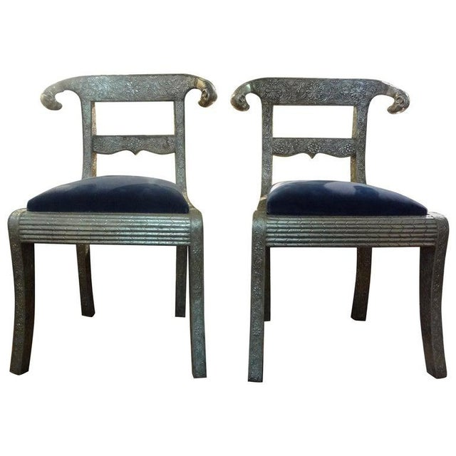 Vintage Anglo-Indian Silver Clad Dowry Wedding Chairs With Rams Heads-A Pair For Sale - Image 10 of 11