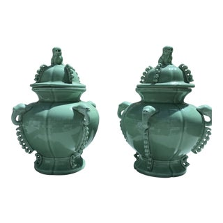 Celadon Jars Foo Dogs & Elephant Handles - a Pair For Sale