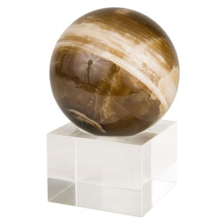 Agate Specimen Sphere on Lucite Base For Sale