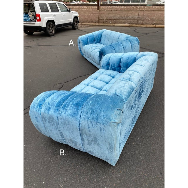 Textile 1970s Hollywood Regency Tufted Curved Sofas - a Pair For Sale - Image 7 of 13