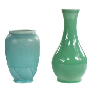 Pair of Petite Rookwood Pottery Arts & Crafts Vases 1 Sea Green & 1 Turquoise For Sale